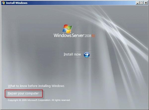 repair computer Windows server 2008
