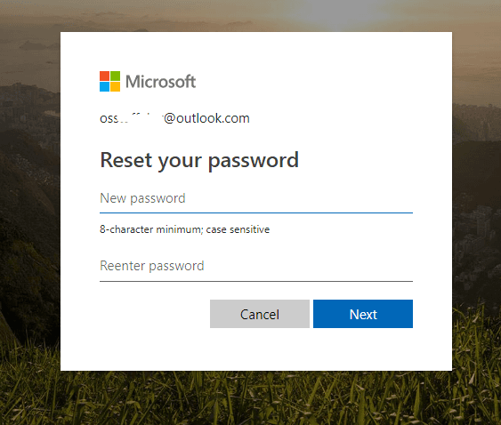 reset Microsoft account password after successful verification