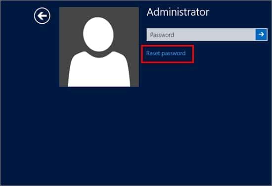 Reset password link in Windows Server 2008 R2