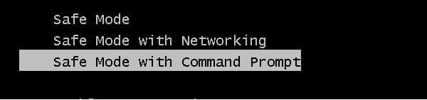 safe mode with command prompt in Windows Vista