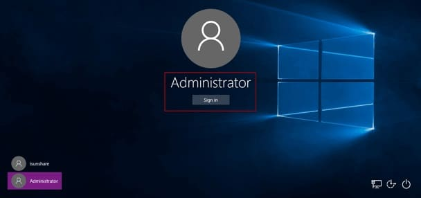 sign in windows 10 tablet with default administrator