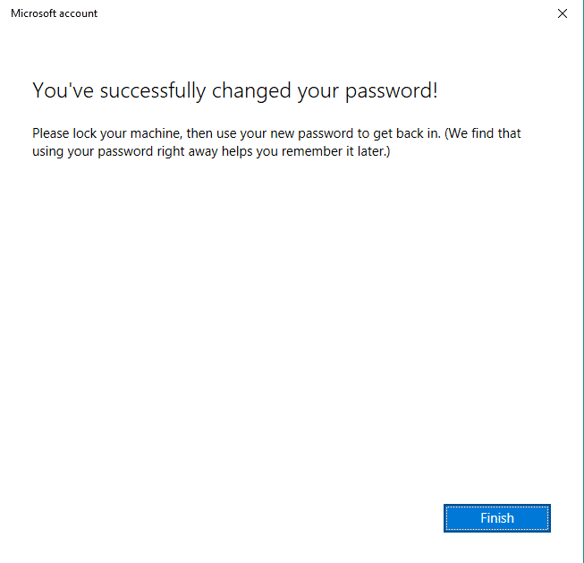 successfully changed microsoft account password in Windows 10