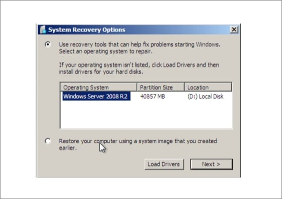 System recovery options in Windows Server 2008 installation
