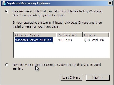 system recovery optionsin windows server