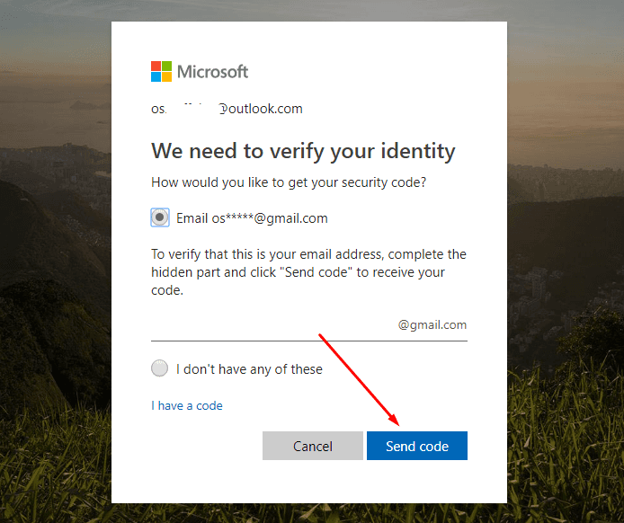 verify alternative email address for microsoft account