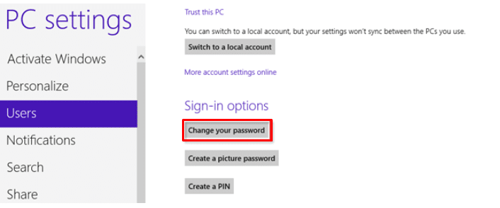 Windows 8 select users from pc settings