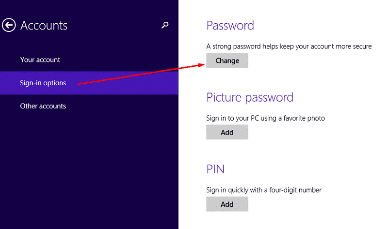 Windows 8.1 change password from signin options