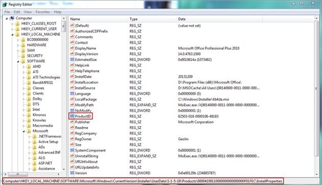 find windows 7 product key in the registry