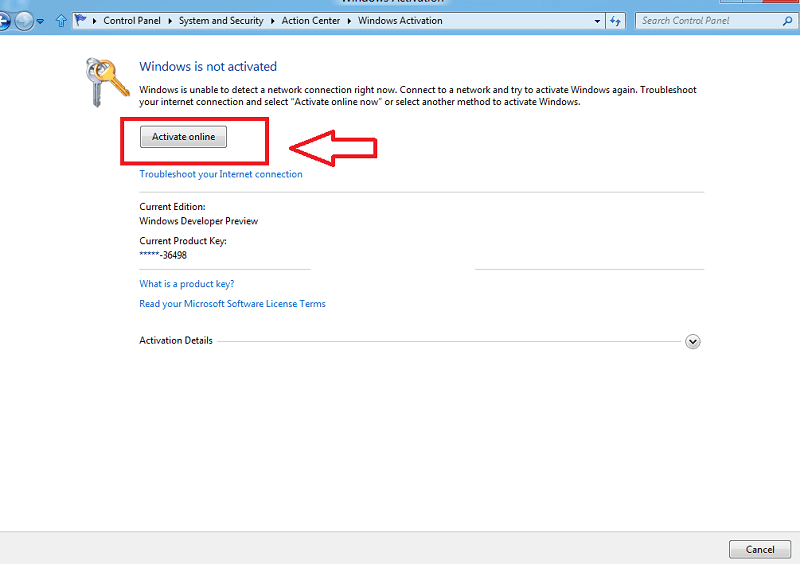 activate online button in windows 8