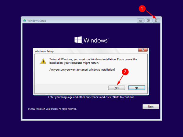cancel windows installation