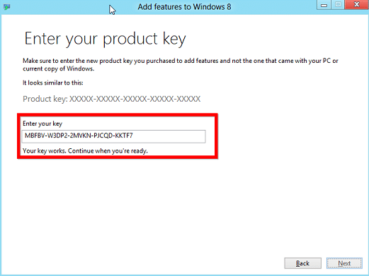 enter your product key in windows 8.1