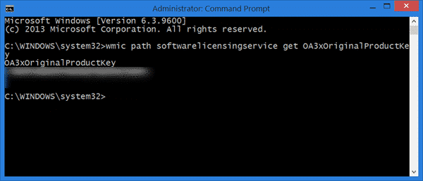 find windows 10/8 product key with command prompt