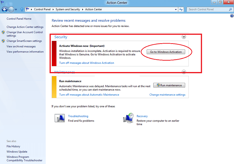 go to windows activation in windows 8