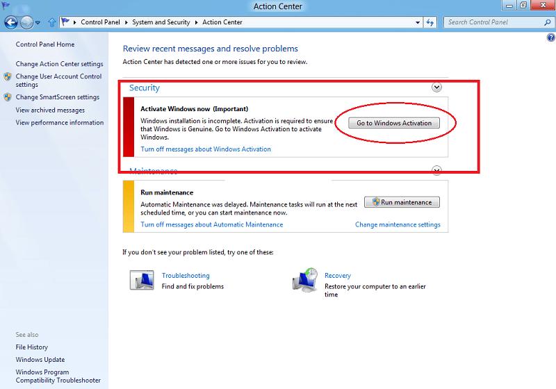 go to windows activation in windows 8