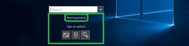reset password link in windows 10