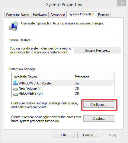 select configure in system protection
