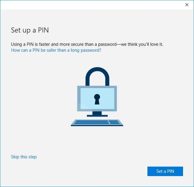 set up a pin in windows 10