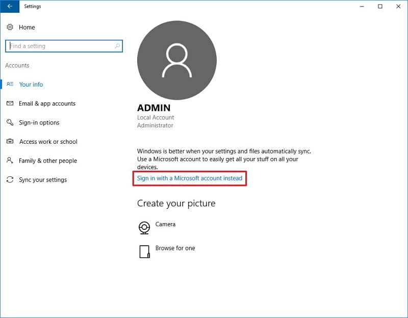 sign in with your microsoft account instead in windows 10