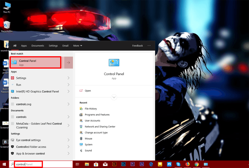 go to control panel in windows 10