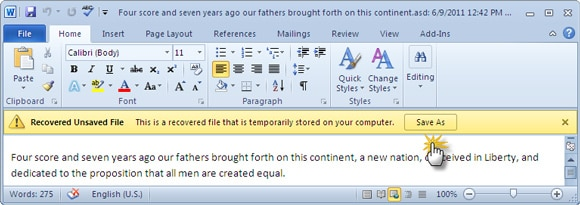 save as to restore the word documents