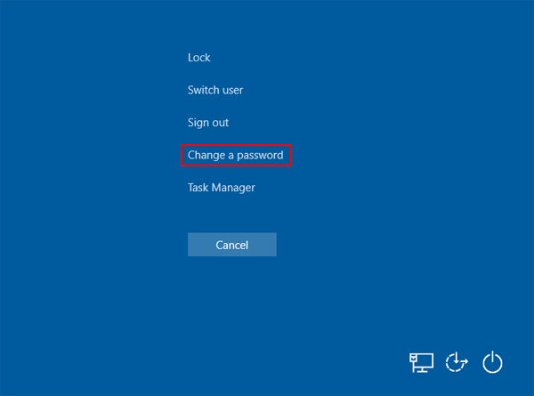 windows 8 change a password option
