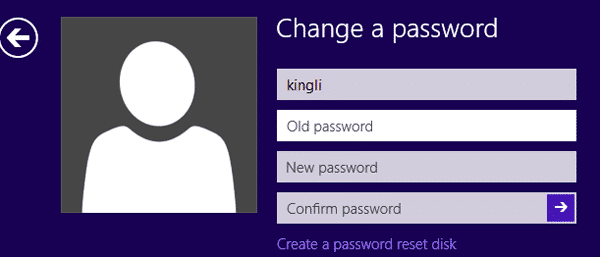 windows 8 change a password window