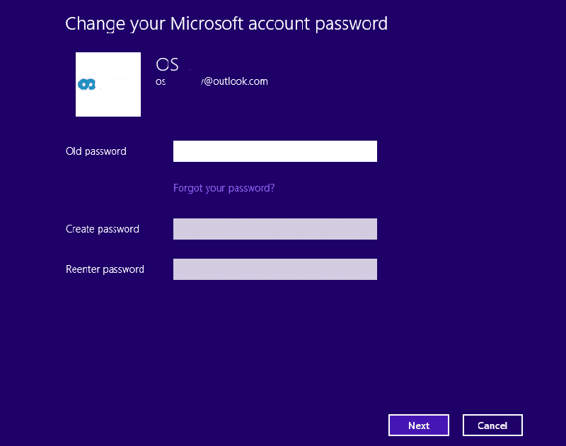 windows 8 change your microsoft account password