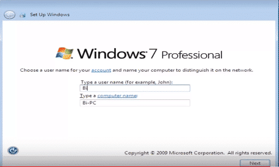 choose a username in windows 7