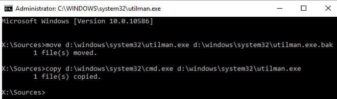 copy utilman exe in windows 10