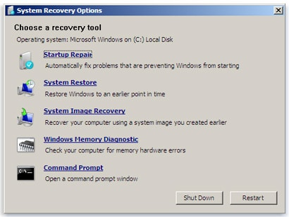 system recovery option in windows 7