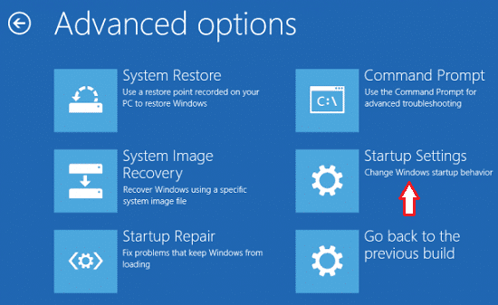 startup setting in windows 10
