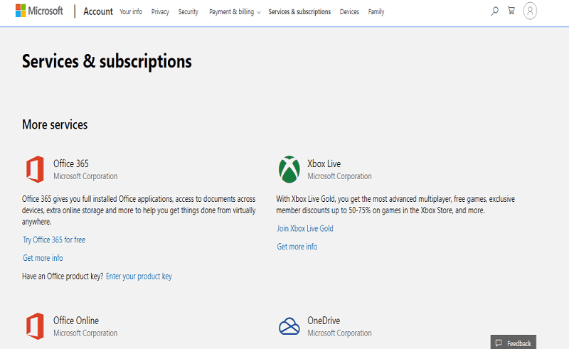 Microsoft Services & Subscription page