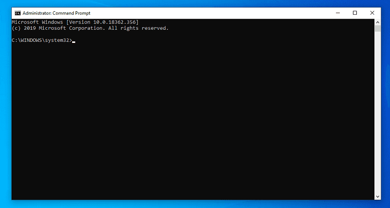 opened command prompt