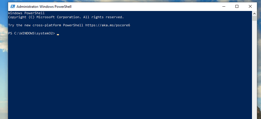 opened PowerShell
