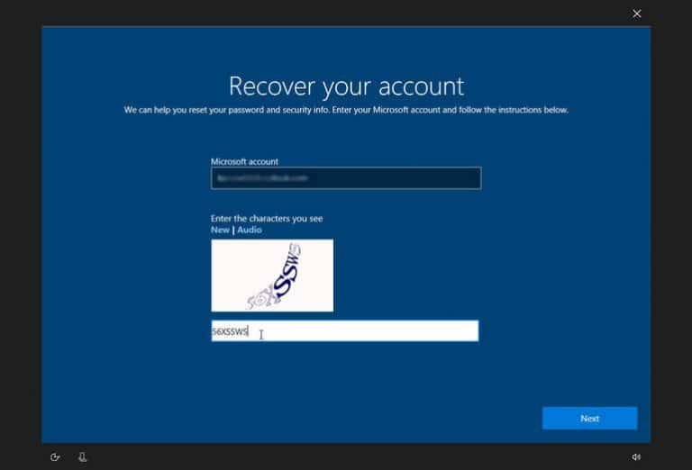 recover your account in windows 10