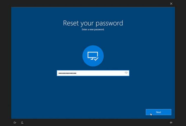 reset your password in windows 10
