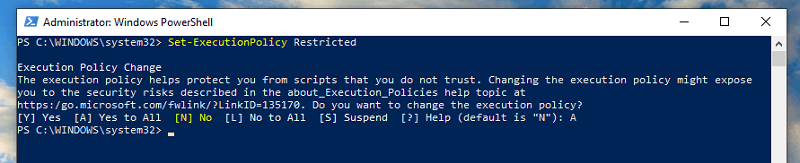 revert back the changes to PowerShell
