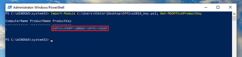 run command in powershell to find office 2016 product key