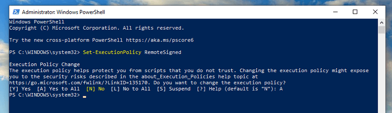 run command in powershell