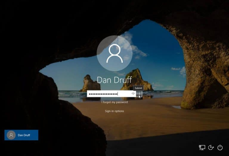 successfully login in windows 10